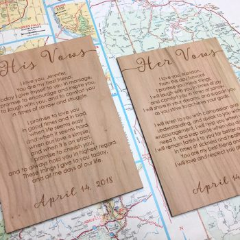 wood vow cards rustic wedding vows