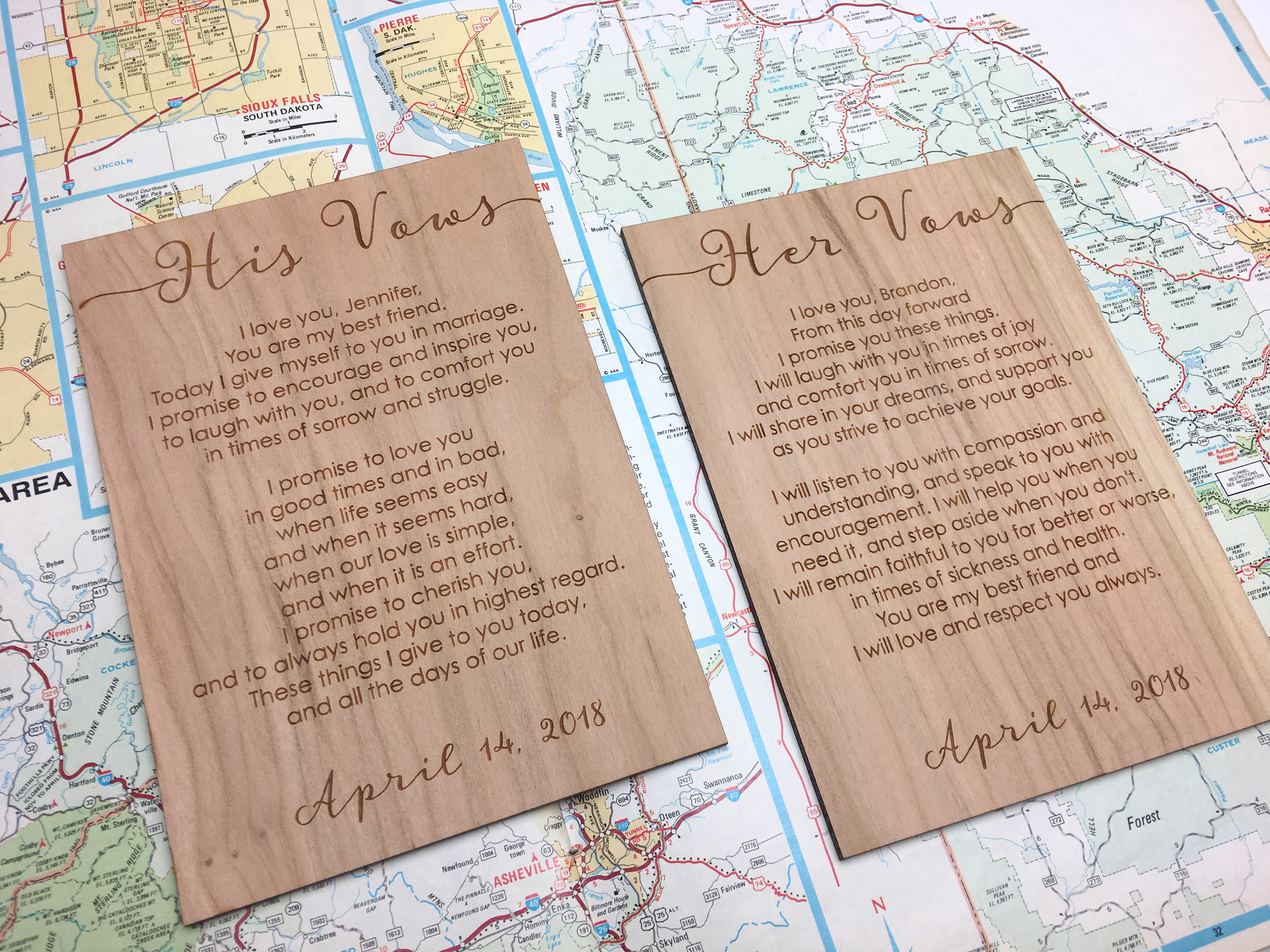 Rustic vow cards wedding vows engraved wood vow cards rustic wedding vows junglespirit Choice Image
