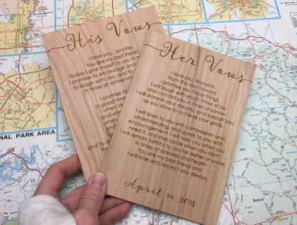 vow cards laser engraved on wood