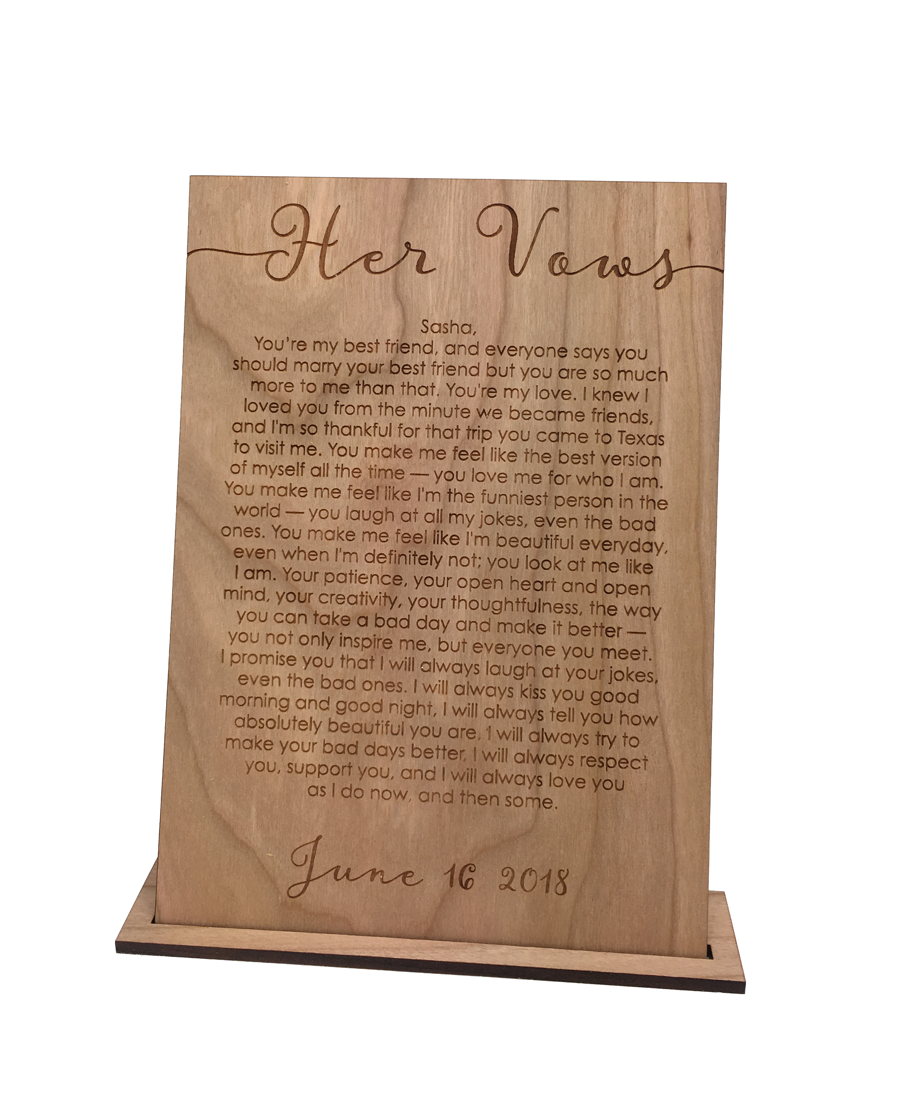Wood vow cards