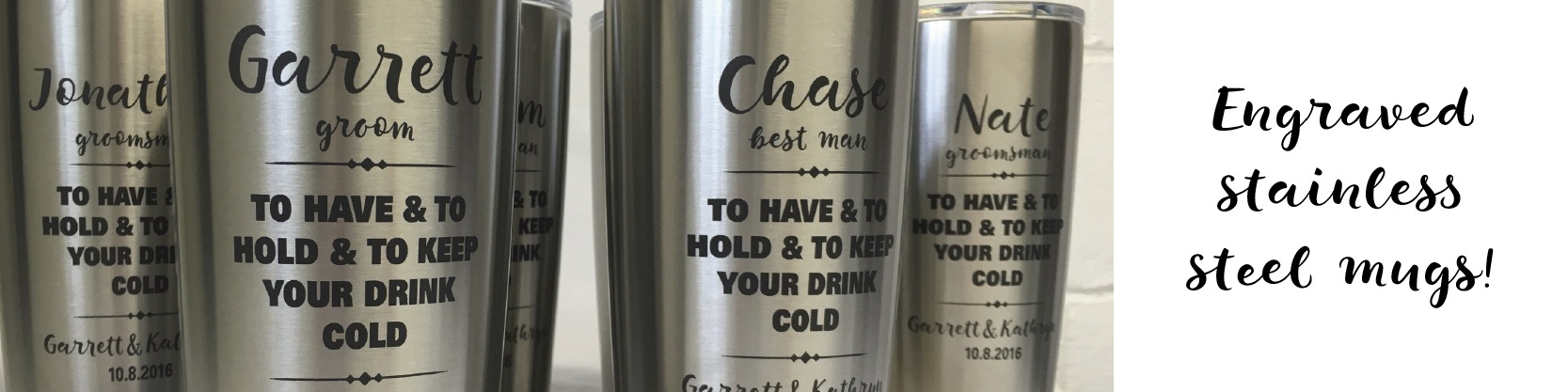 Engraved stainless steel mugs