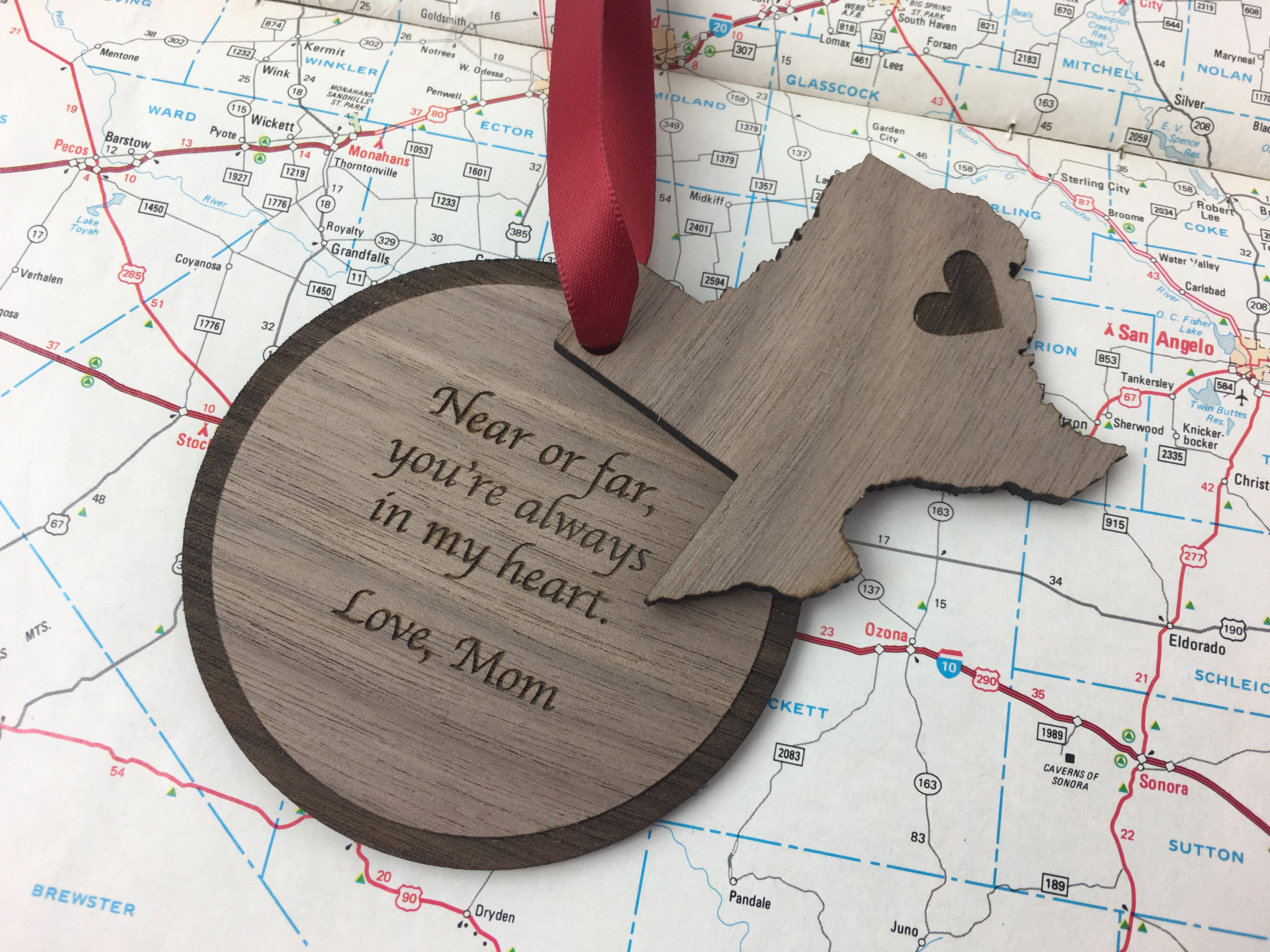 Near or Far, you're always in my heart holiday ornament