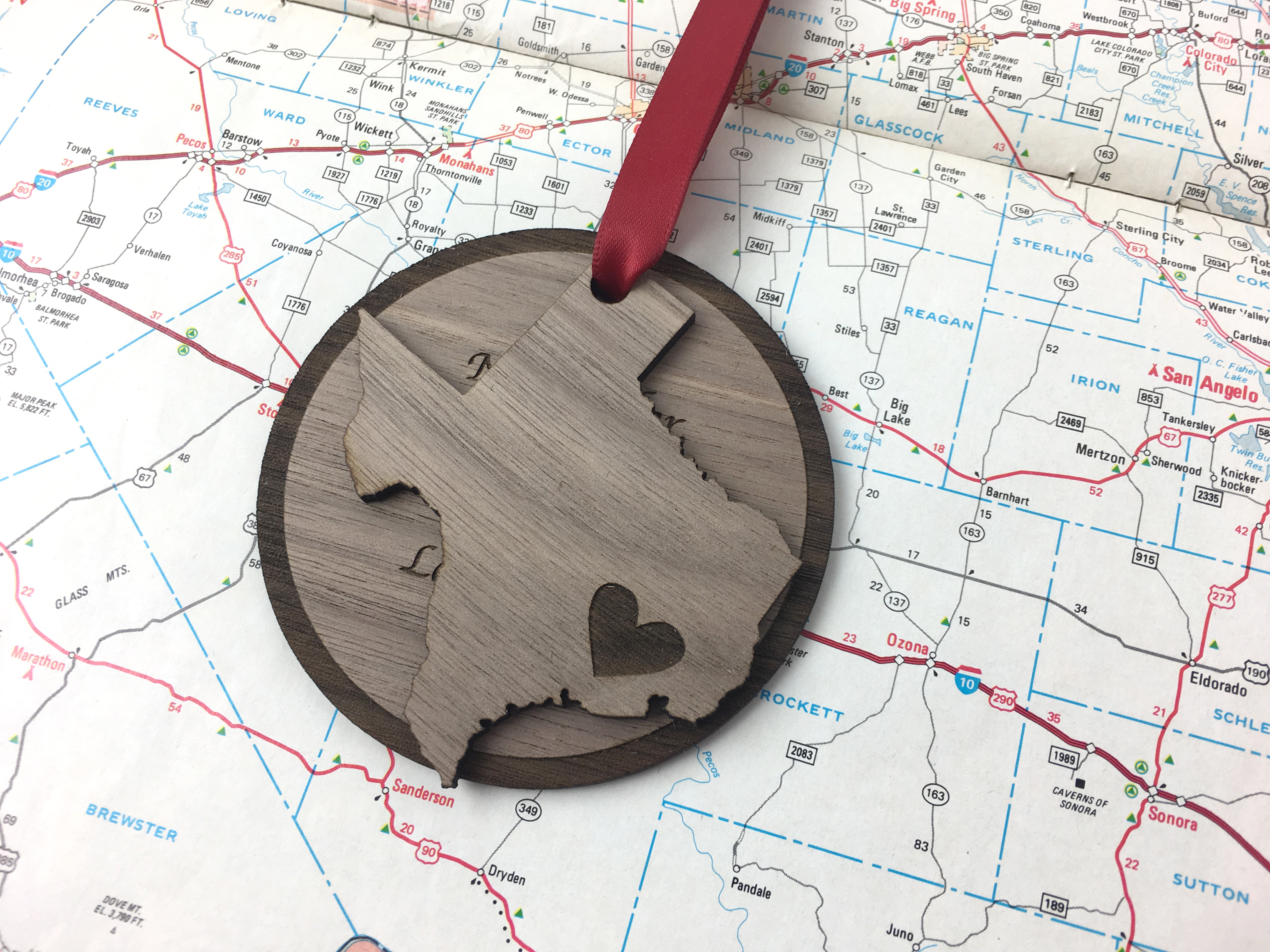 Heart on Texas Christmas ornament