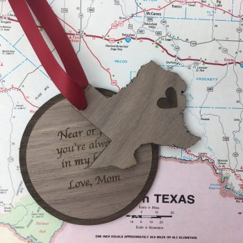 texas state holiday ornament with personal message