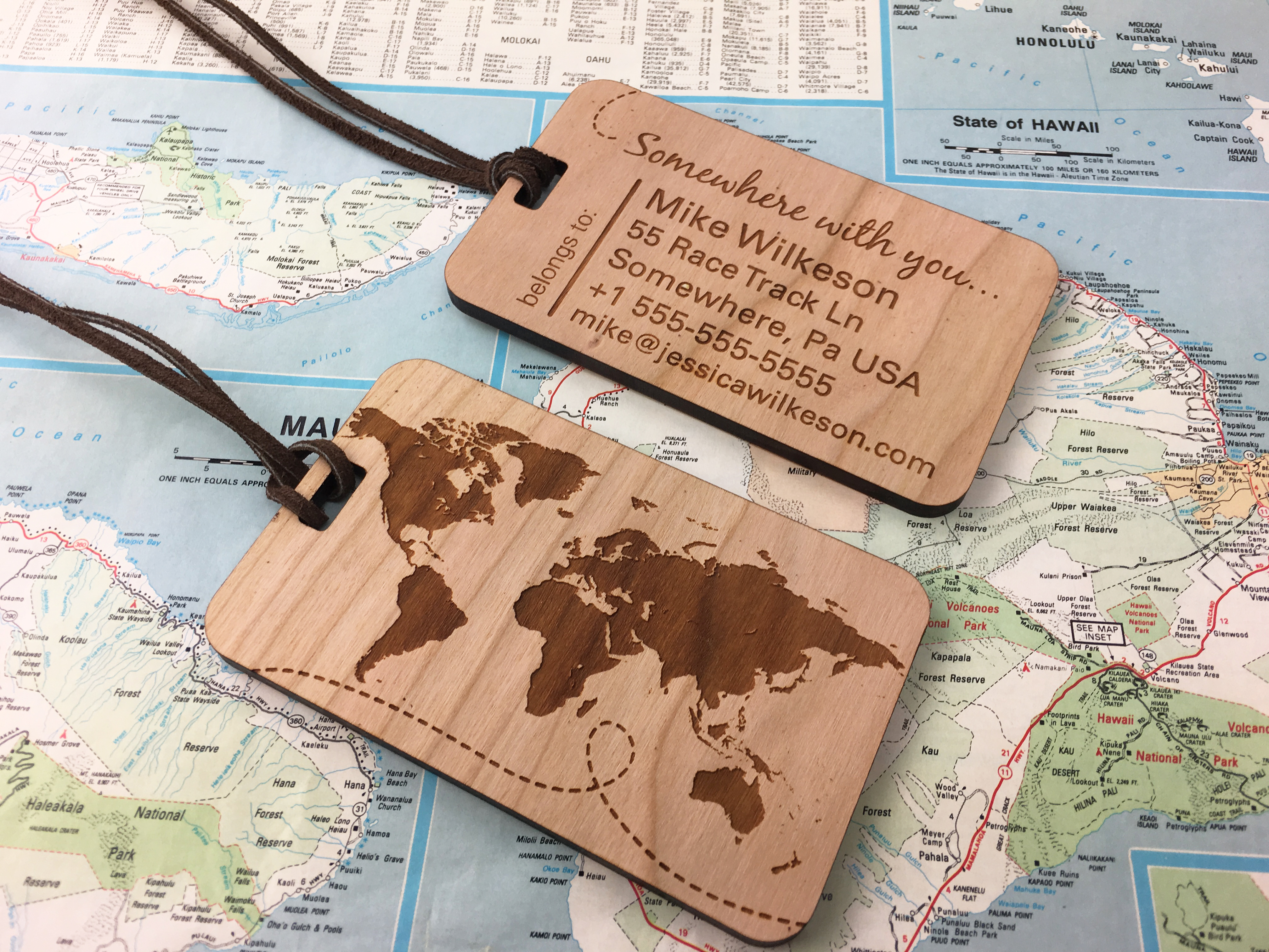 5th anniversary wood luggage tags