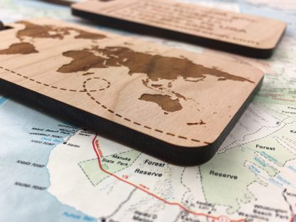 world map luggage tag detail