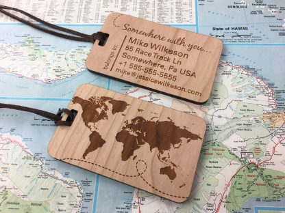 Custom wood luggage tags