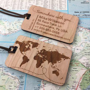Custom wood luggage tags