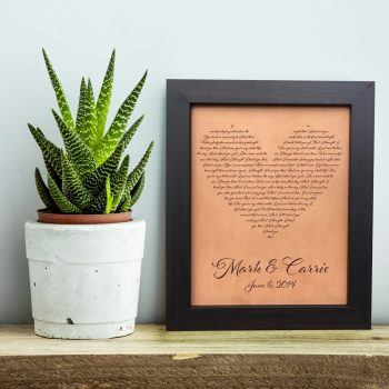 heart lyrics art engraved leather anniversary gift