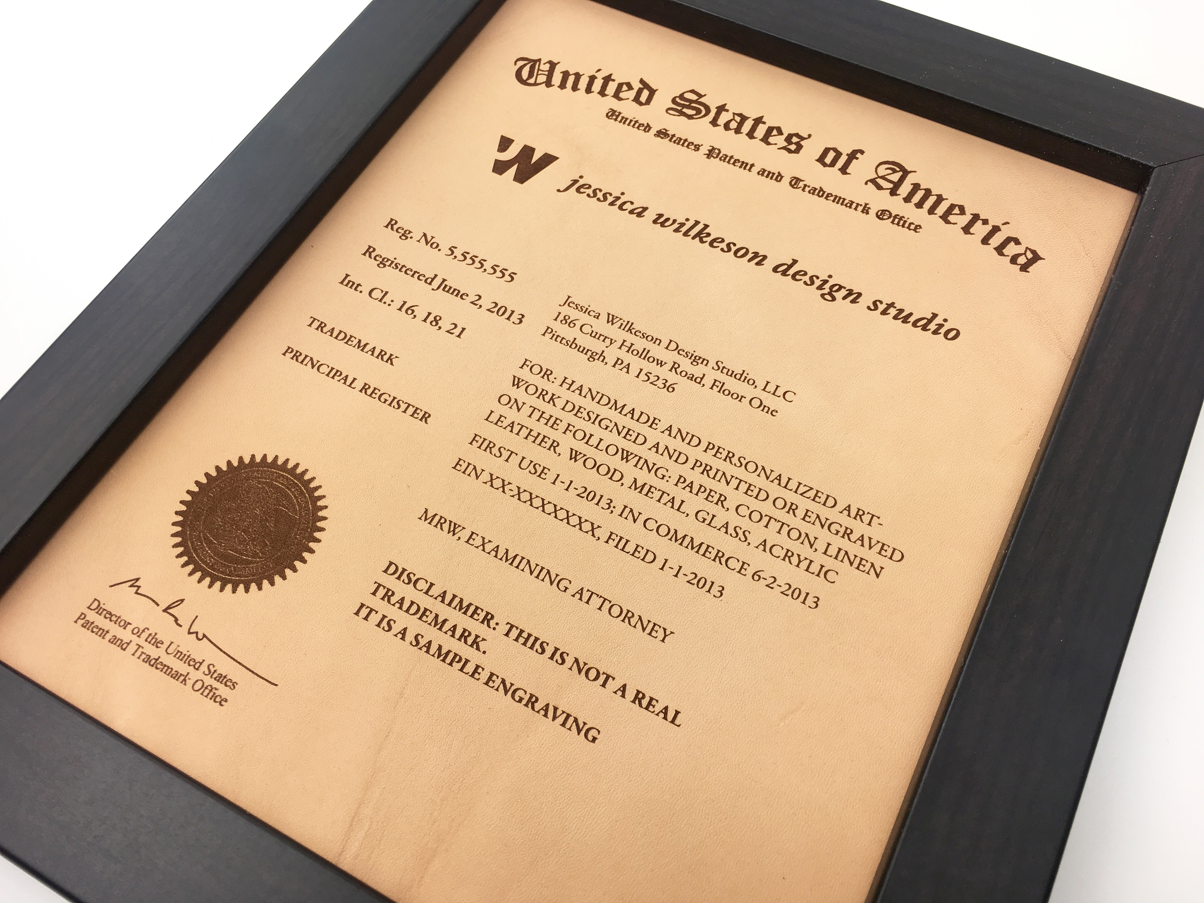 US Patent and Trademark leather plaque and frame
