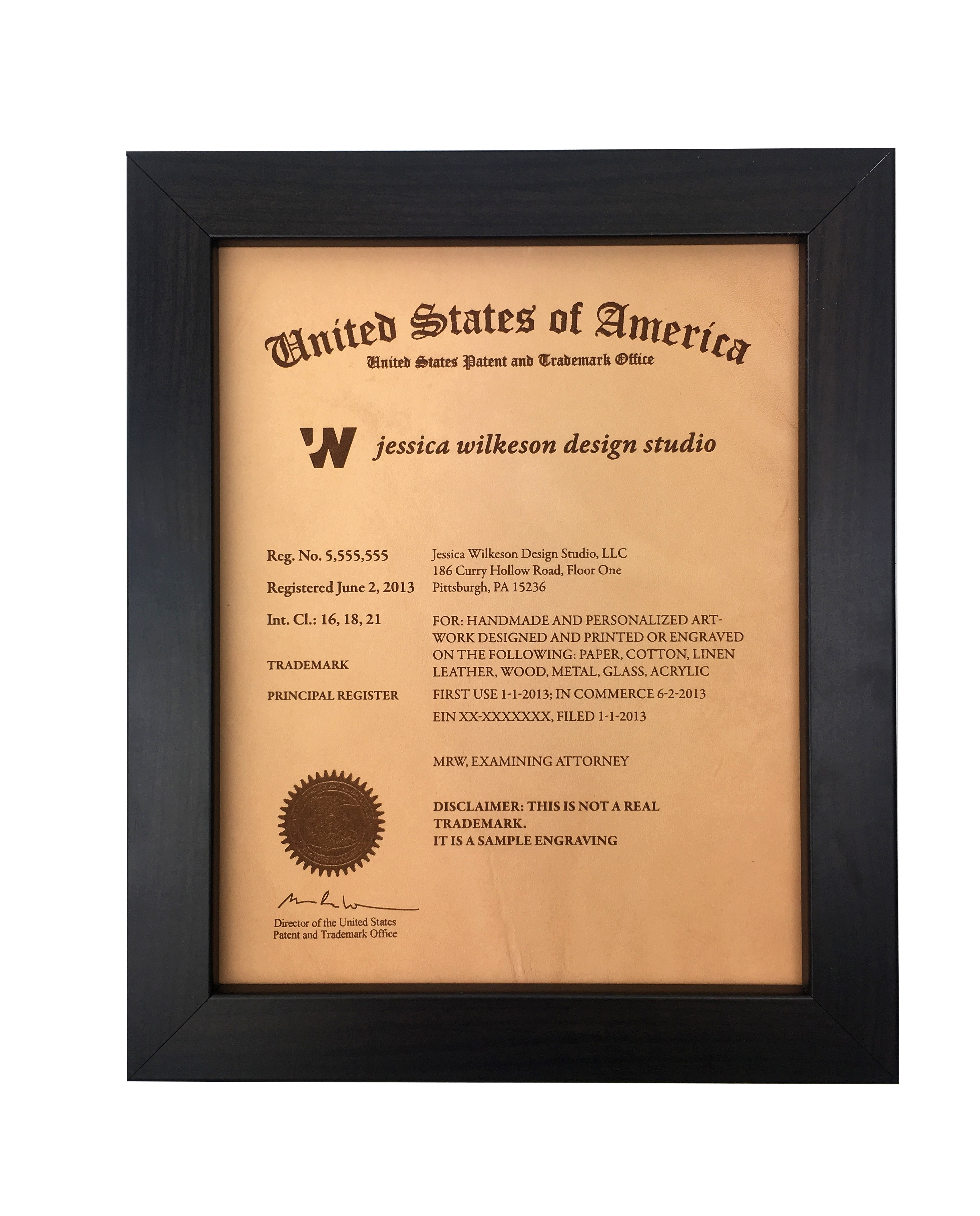 US Trademark and Patent plaque frame
