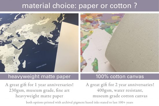 world map on paper or cotton canvas