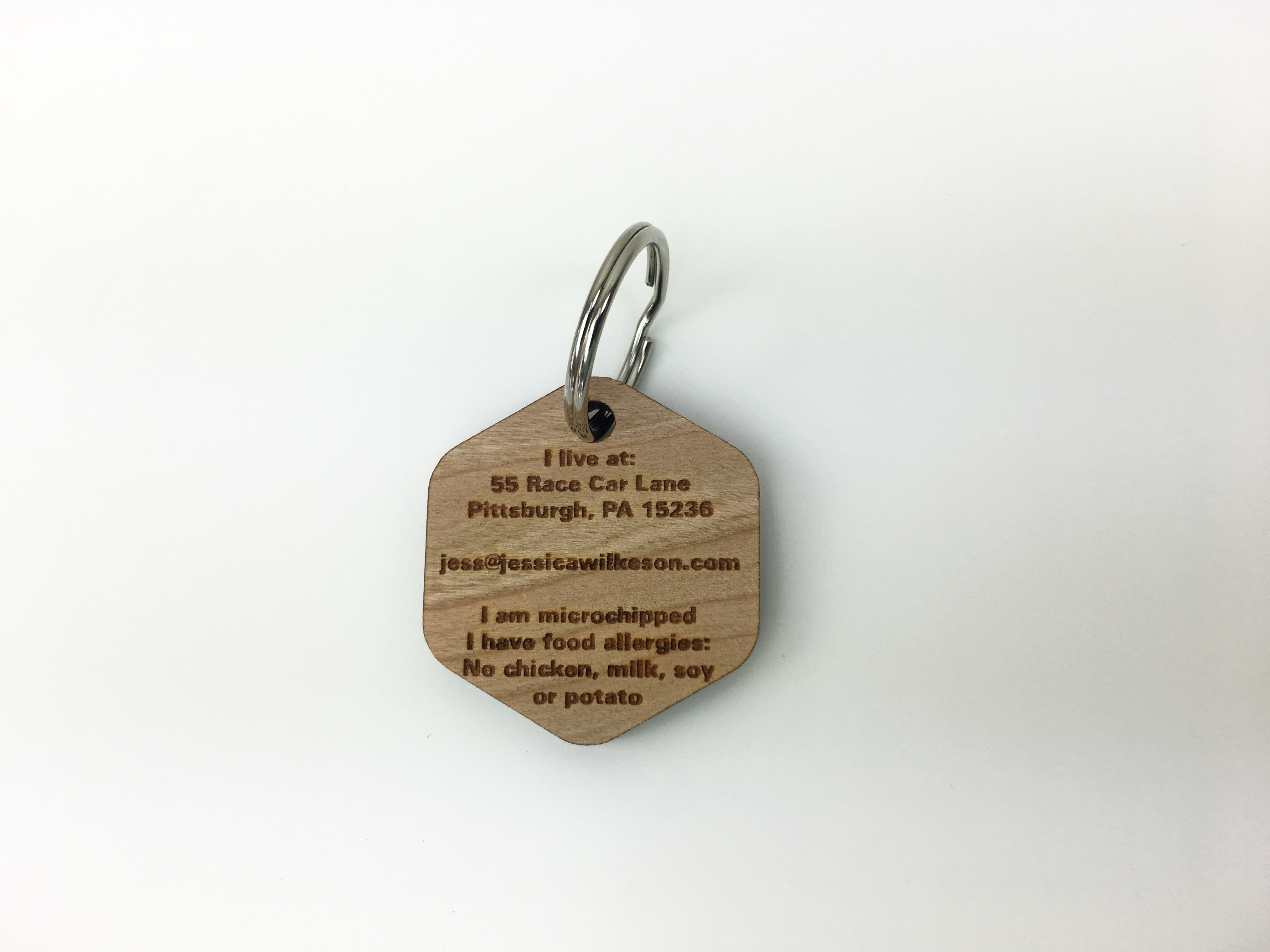 custom wood dog tag