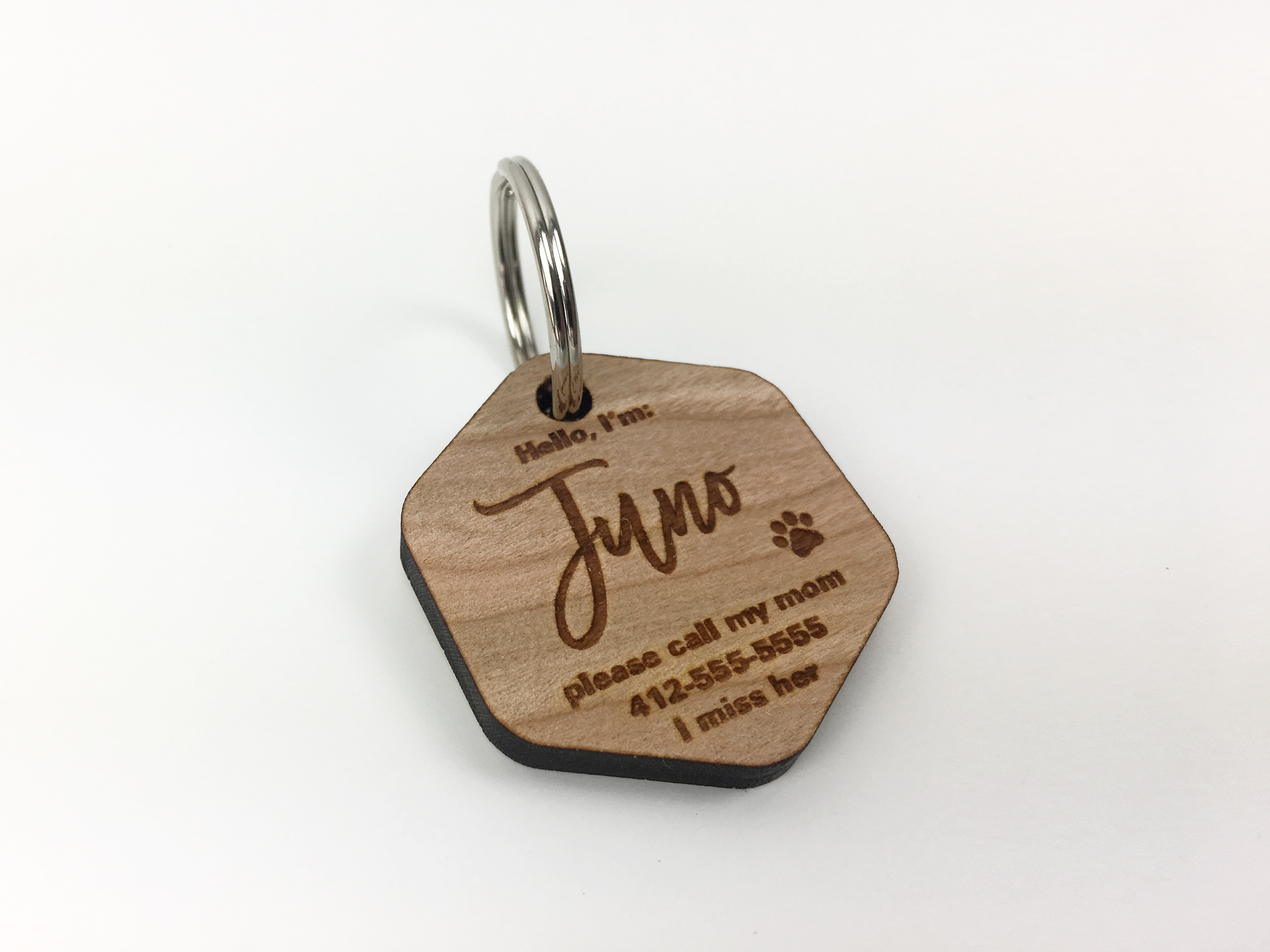 personalized wood dog id tag, hexagon shape