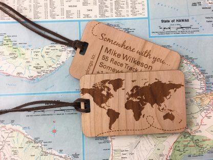 world map wood luggage tag