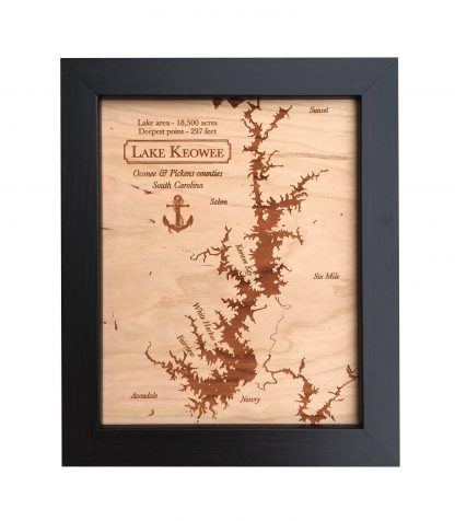 wood anniversary gift, wood lake map