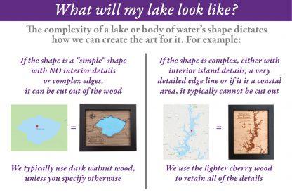 custom laser cut wood lake map