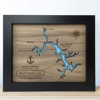 Deep Creek Lake map on wood