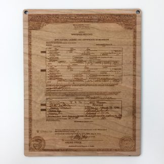 wood anniversary wedding certifcate plaque