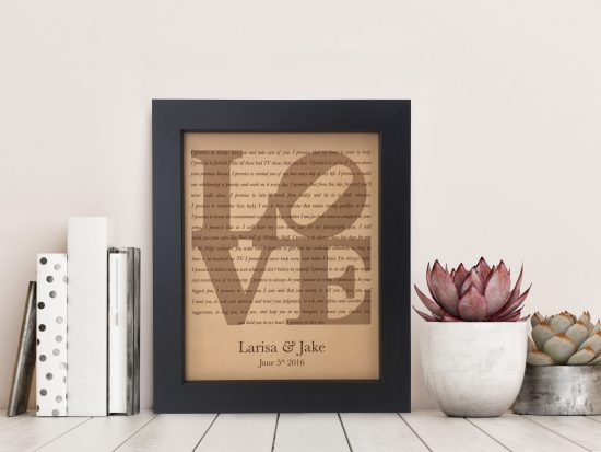 Love Statue Wedding Vows on Leather
