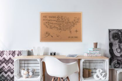 USA Cork Map dorm room decor