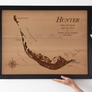 large wood map personalized