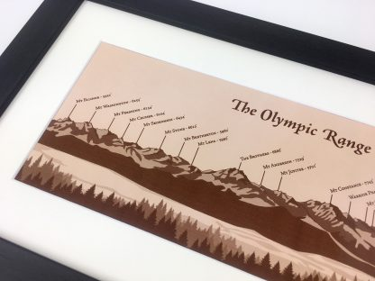 olympic mountain range leather artwork