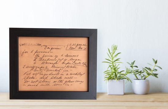 handwritten recipe engraved art