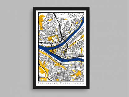 Pittsburgh City Map in white, black, yellow and Steelers blue