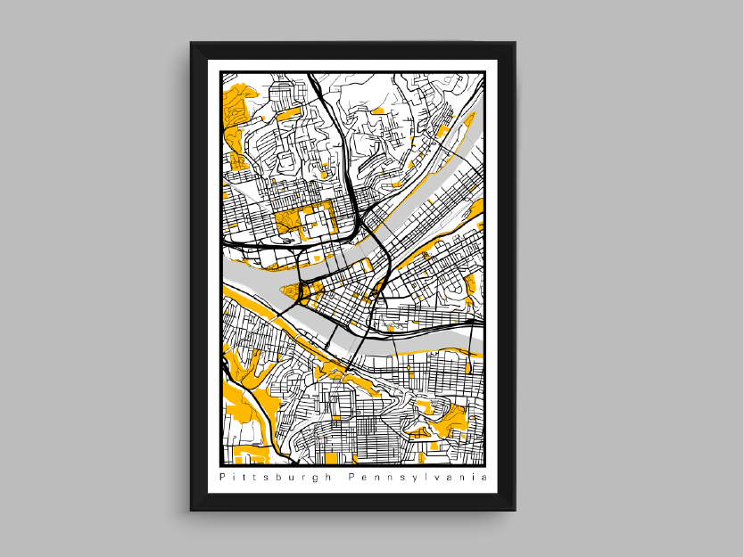 Pittsburgh office art city map