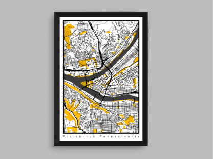 black and yellow city of pittsburgh art