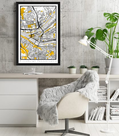 Pittsburgh office decor city map