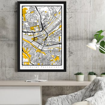 Pittsburgh map illustration for office