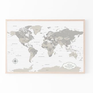 push pin travel map farm house decor