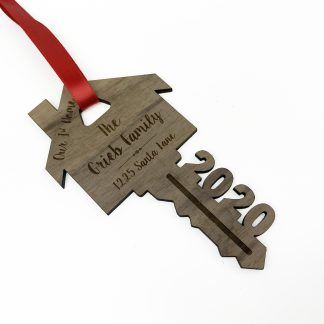 2020 key ornament laser cut and engraved