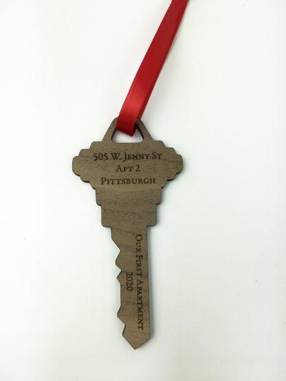 key ornament with address