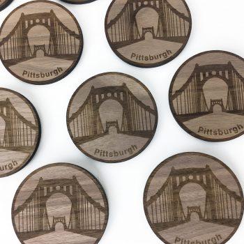 wood laser engraved magnet Pittsburgh Bridge Art