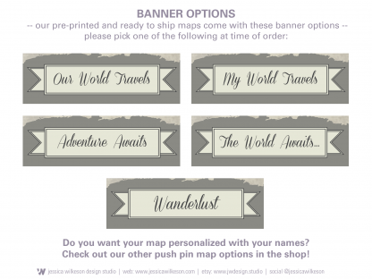 banner options to personalized world map