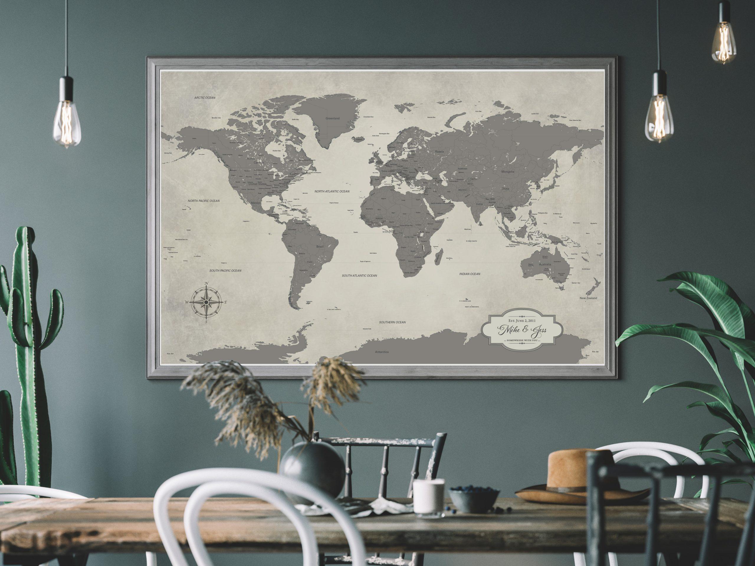 grey push pin world travel map 24 x 36 inch