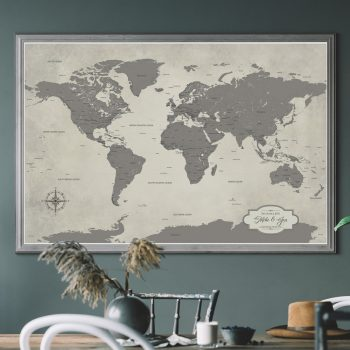 grey world map for home decor