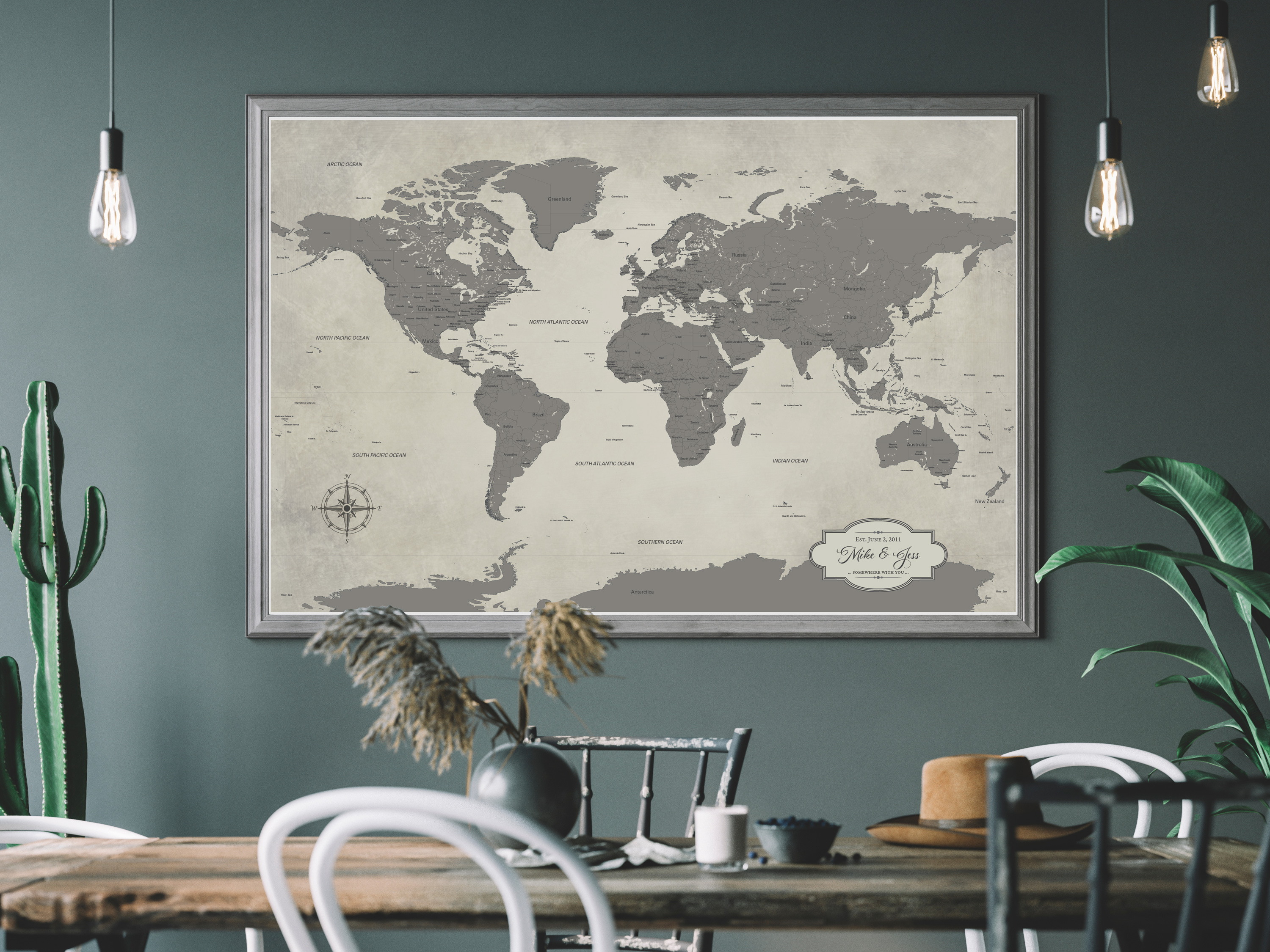 country rustic gray world map