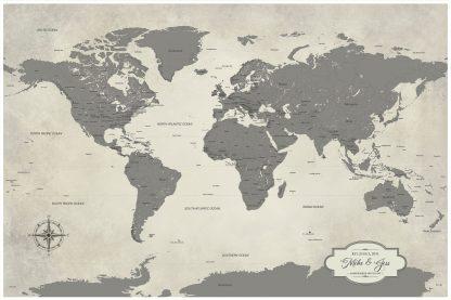 grey world travel map personalized