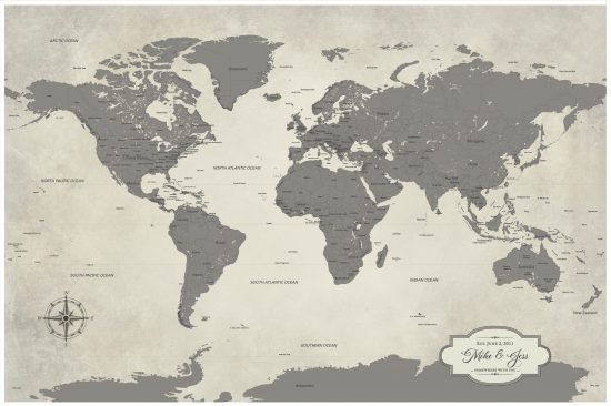 grey world travel map personalized