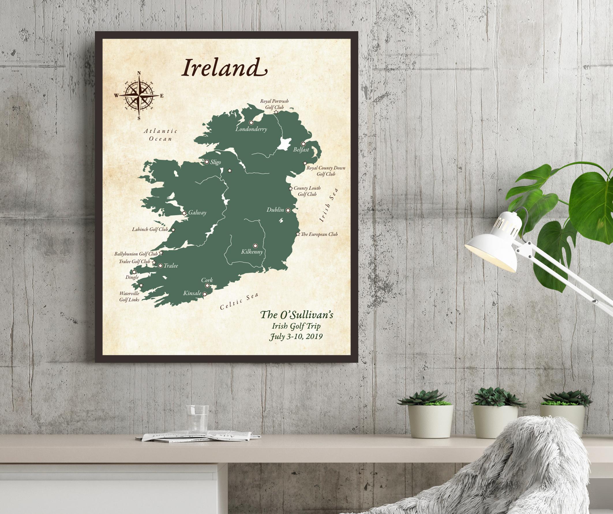 ireland map golfing trip
