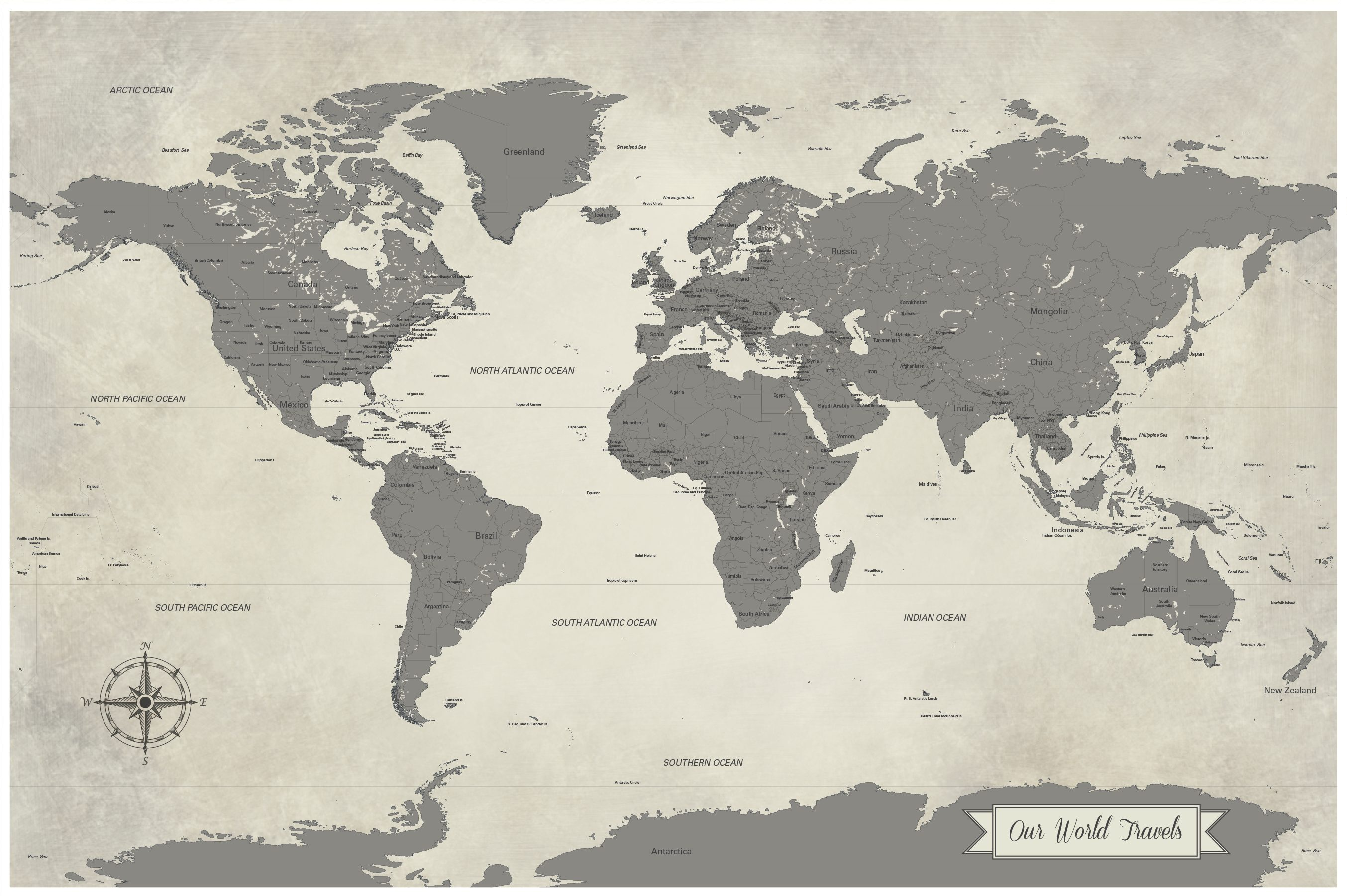 our world travels gray push pin map