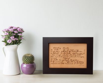 engraved recipe on leather