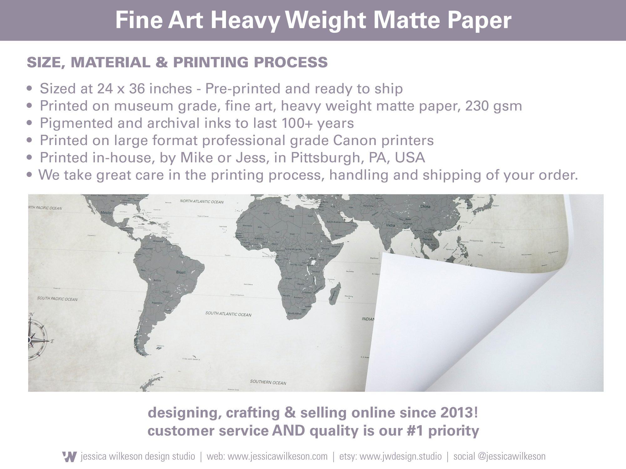 push pin world map on paper
