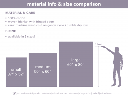blanket sizing chart by Jessica Wilkeson Design Studio