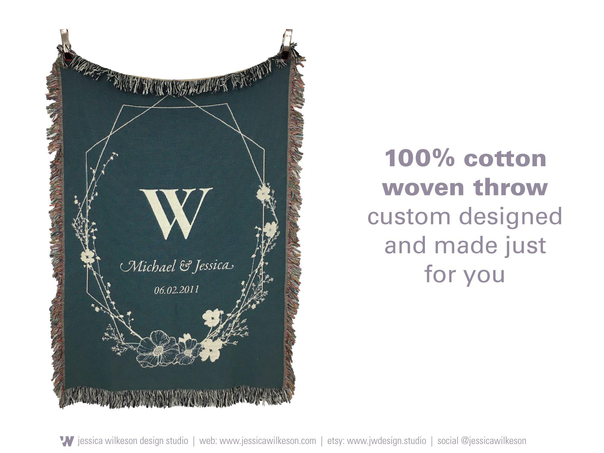 wedding gift monogram blanket