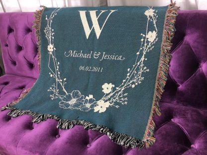 woven throw monogram blanket